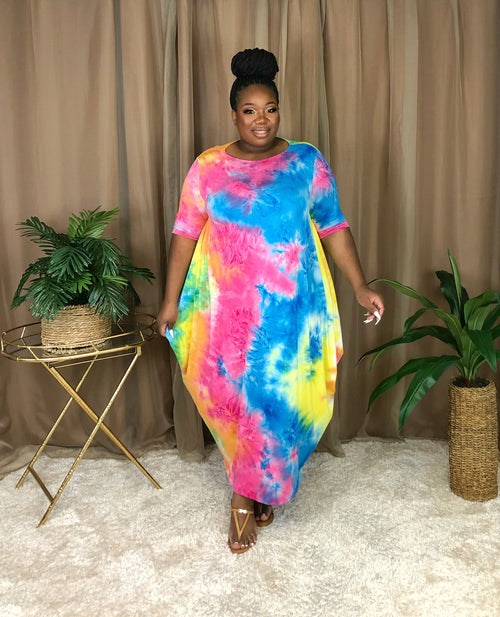 Draped Shift Dress | Rainbow Tie-dye