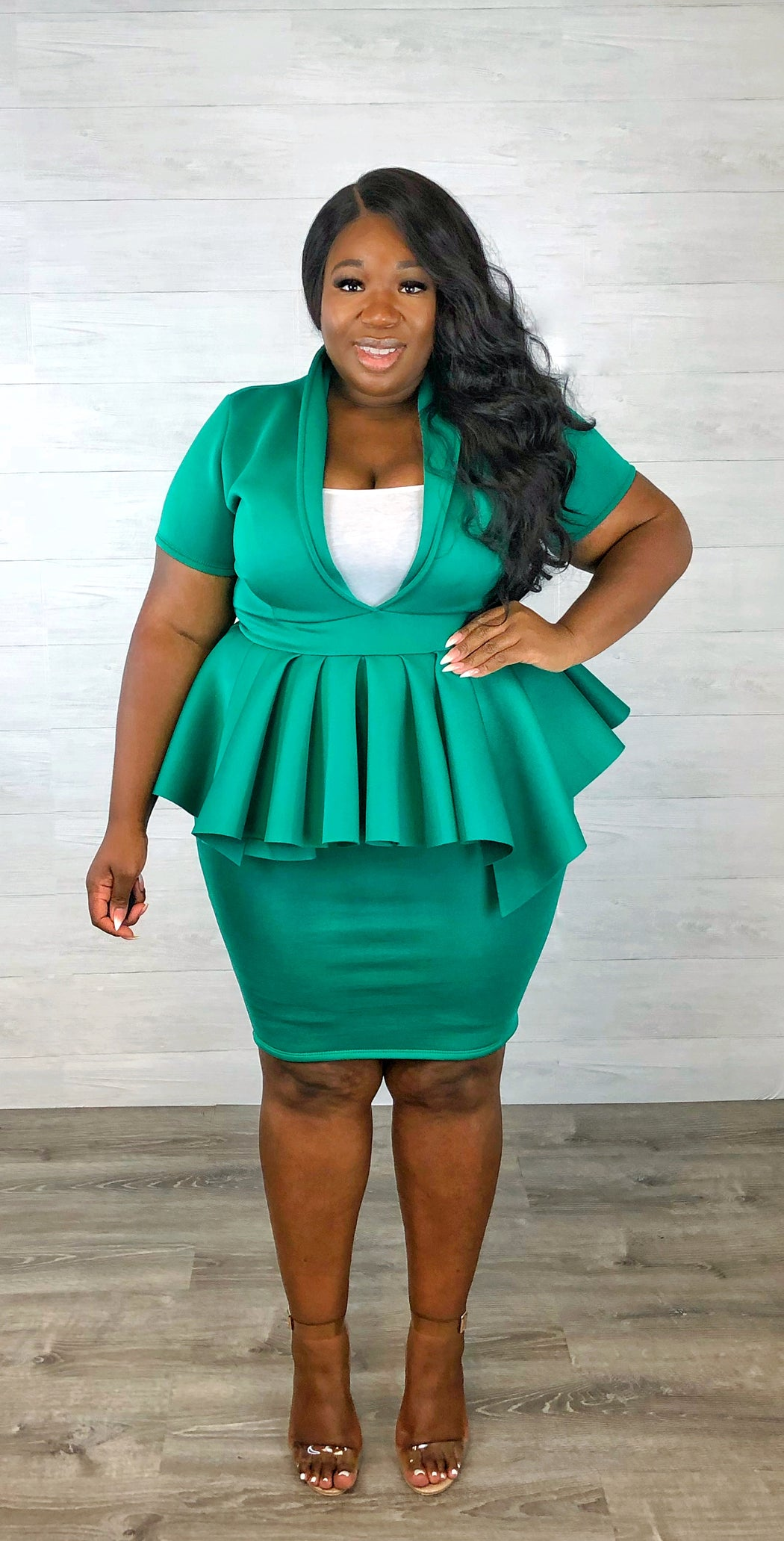 Work the Room Peplum Dress | Jade