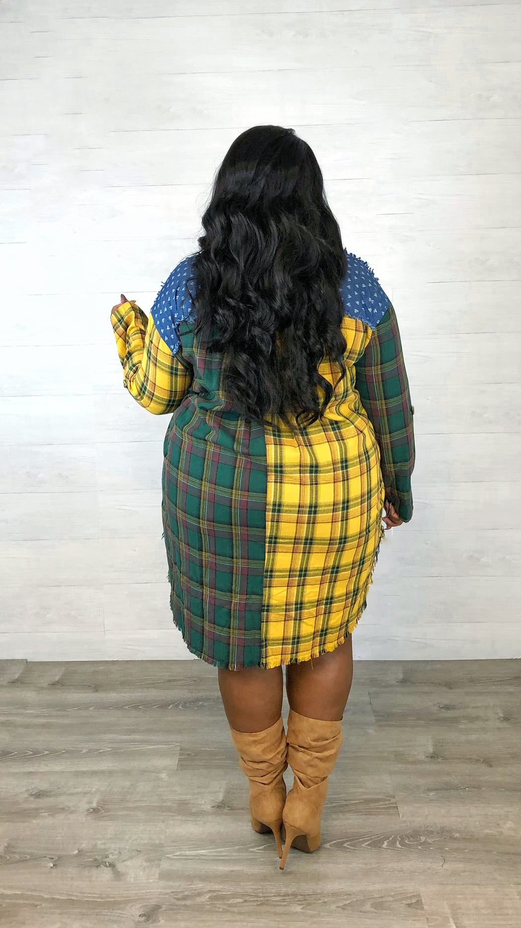Play Both Sides Plaid Shirt Dress | Forest Mix