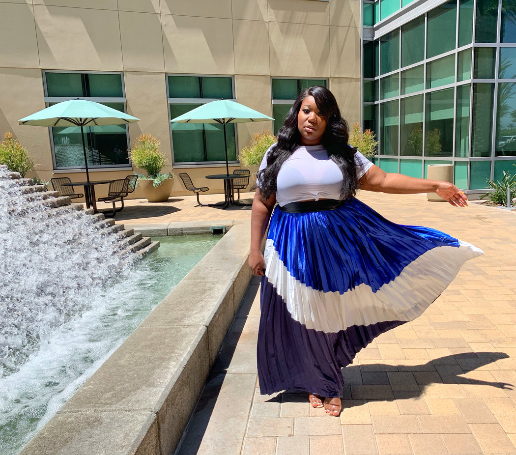 Mixed Media Pleated Maxi Skirt - Royal Mix