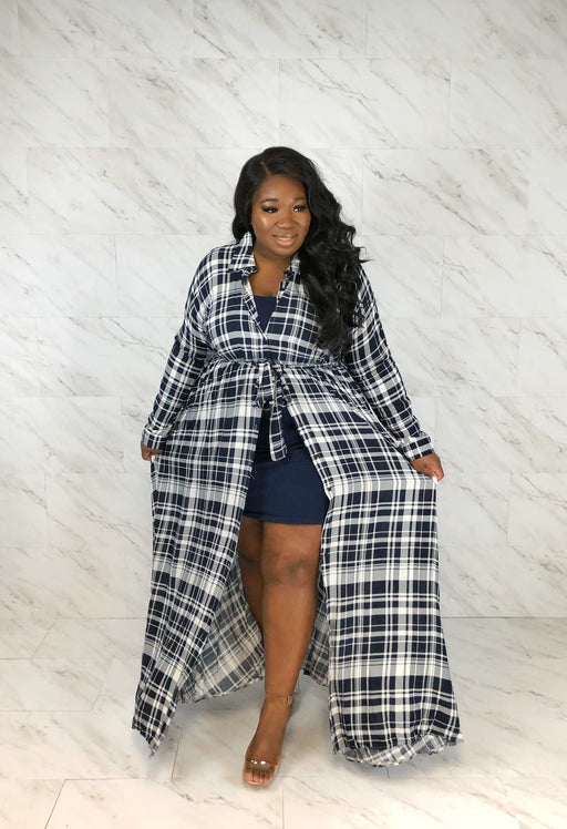 Plaid Maxi Shirtdress | White & Navy
