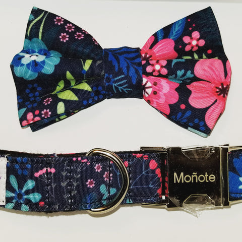 Blue Floral Bow Collar