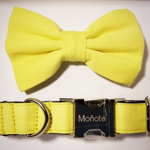 Solid Yellow Bow Collar