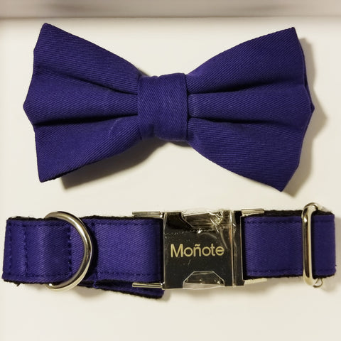Solid Blue Bow Collar
