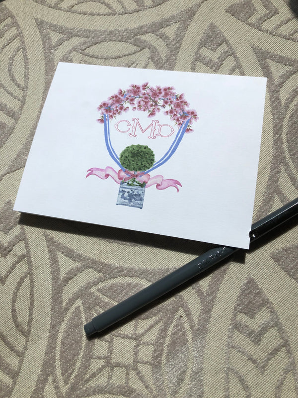 Chinoiserie Topiary Folded Notes