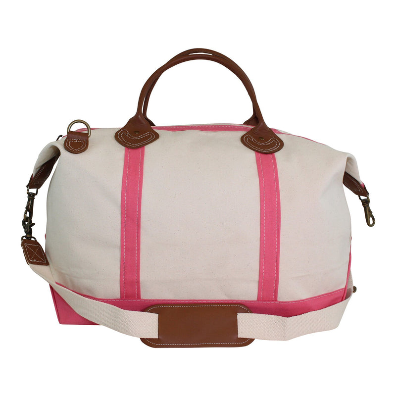 Pink Canvas Weekender Duffel Bag