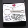 TINY NL3141 - TO MY FUTURE WIFE - Your smile is my sunrise and your kiss is my sunset - Heart Necklace & Keychain Gift Set