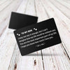 "TINY CA5011 - TO MY SON - ""You are the most important part of my life"" - WALLET CARD -"