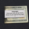 TINY MC7011 - To My Wife - I love you with all my heart - Money Clip