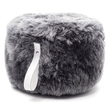 Load image into Gallery viewer, New Zealand Sheepskin Pouf, Round, Grey