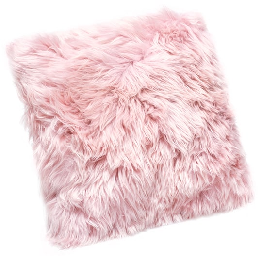 pink sheepskin pillow