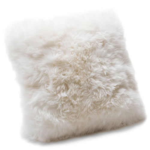 white sheepskin cushion