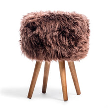 Load image into Gallery viewer, sheepskin dressing table stool