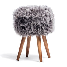 Load image into Gallery viewer, sheepskin stool grey
