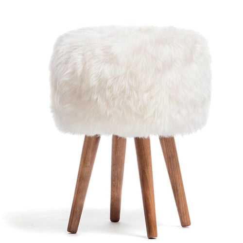 white sheepskin stool