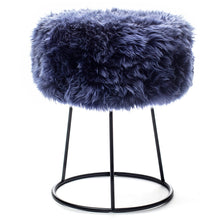 Load image into Gallery viewer, New Zealand Sheepskin Stool Blue Print
