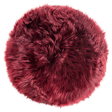 Load image into Gallery viewer, New Zealand Sheepskin Stool Burgundy