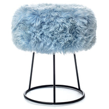 Load image into Gallery viewer, New Zealand Sheepskin Stool Heavenly Blue
