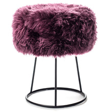 Load image into Gallery viewer, New Zealand Sheepskin Stool Italian Plum