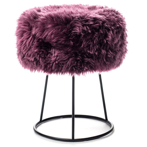New Zealand Sheepskin Stool Italian Plum