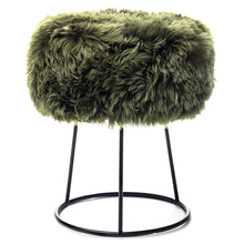 Load image into Gallery viewer, New Zealand Sheepskin Stool Olive