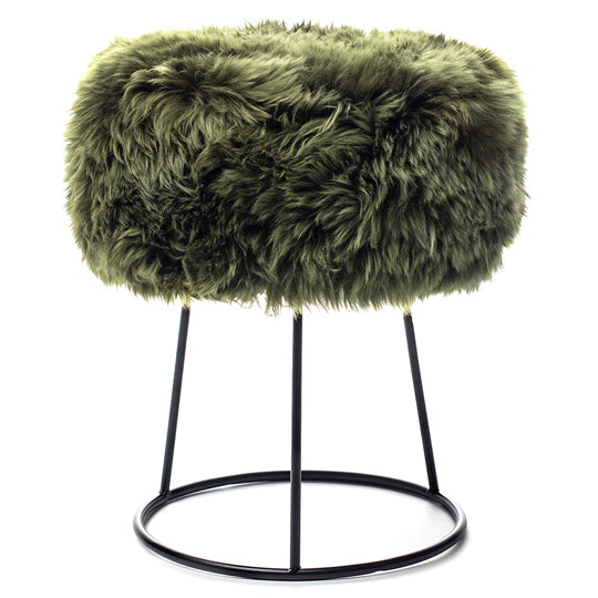 New Zealand Sheepskin Stool Olive