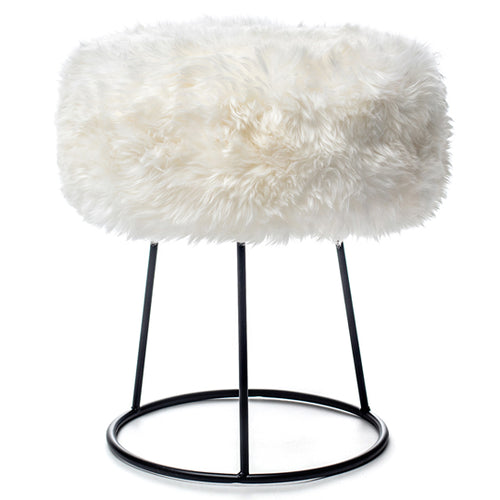 New Zealand Sheepskin Stool White