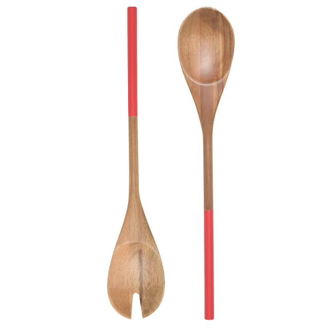 RED DIPPED SALAD SERVERS SET OF 2