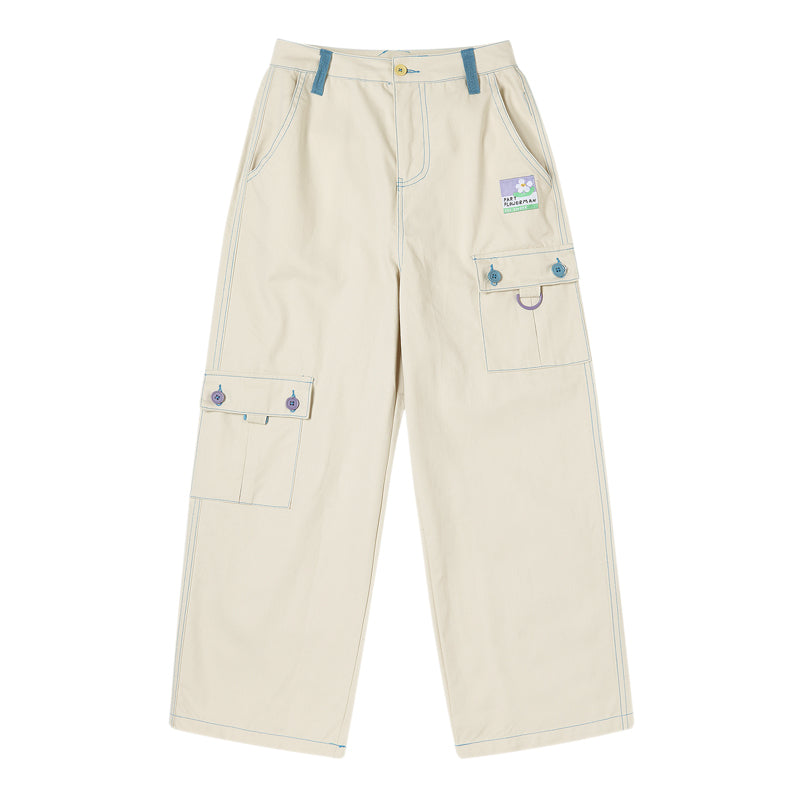 RETRO ''FLOWER'' BEIGE STRAIGHT PANTS BY63036