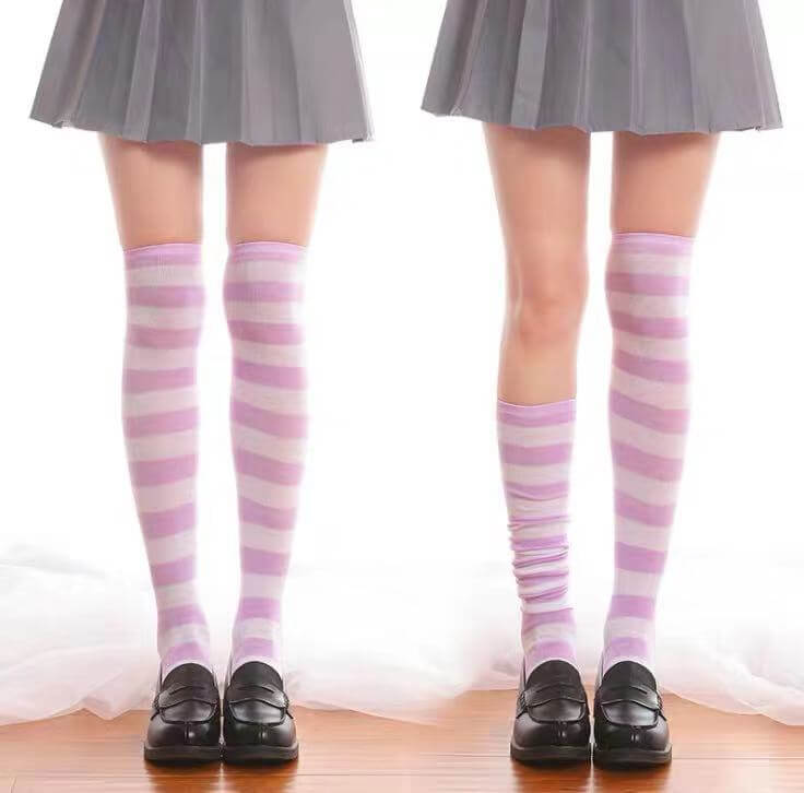 JAPANESE COS STRIPED KNEE SOCKS BY64023