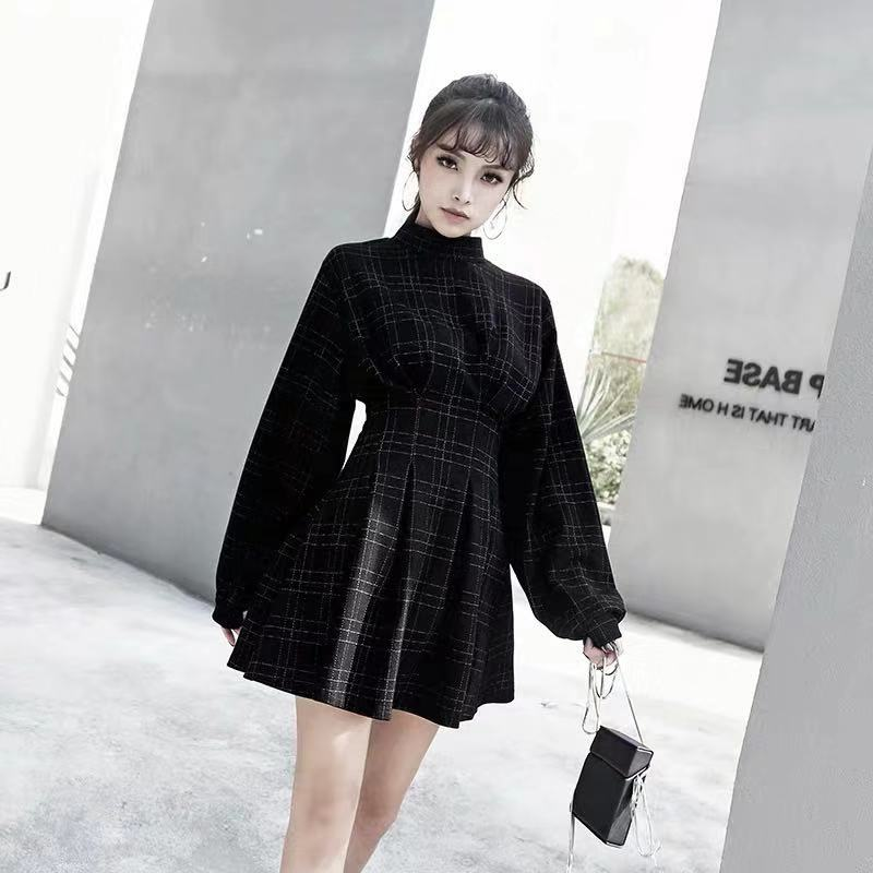 2019 AUTUMU NEW CHEQUER WAIST-TIED LONG-SLEEVE DRESS BY71117