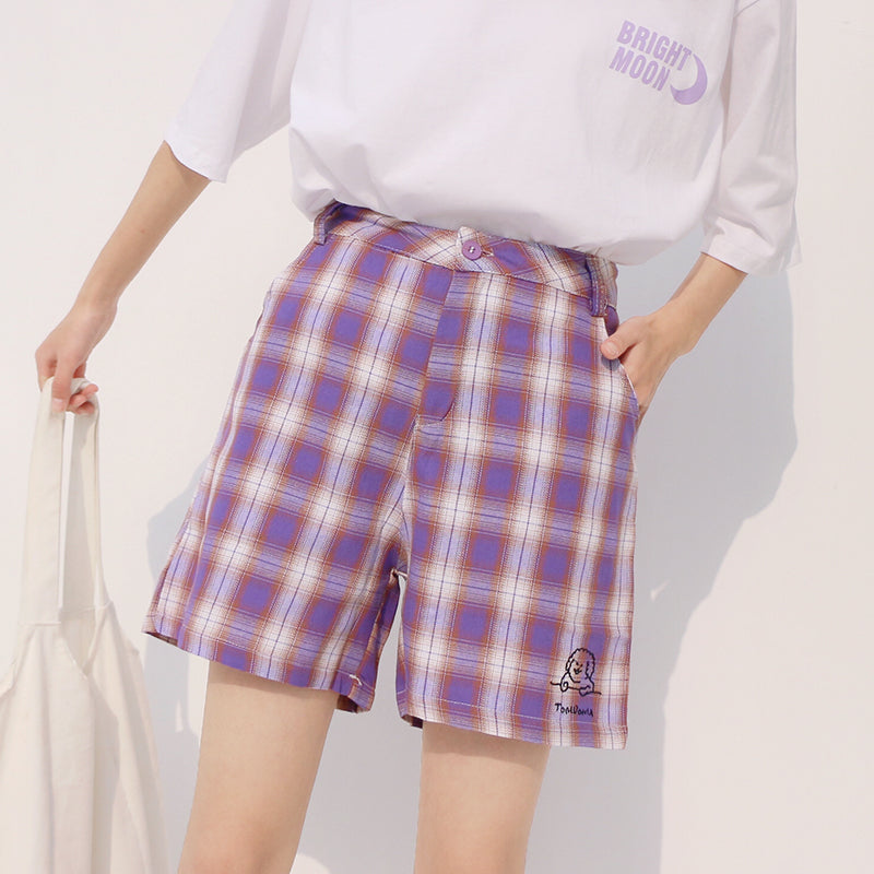 2019 CUTE DOG EMBROIDERY PURPLE GRID SHORTS BY62007