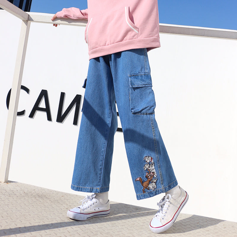 2019 HOT CUTE DOGS EMBROIDERY OVERALLS JEANS PANTS BY63034