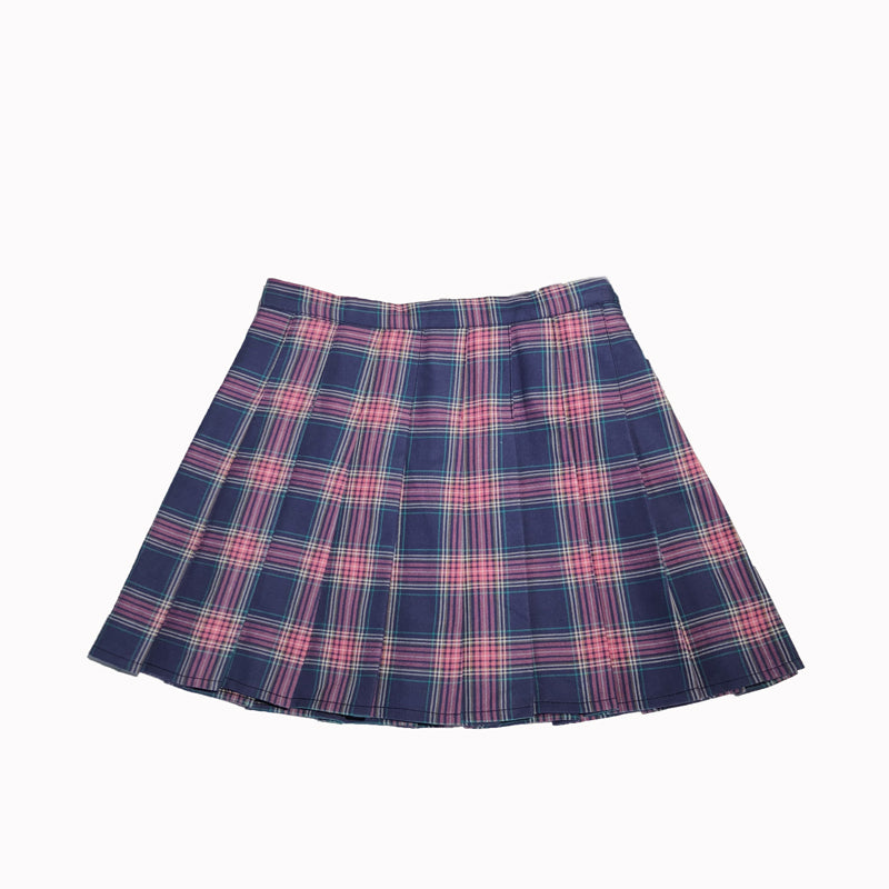 PURPLE CHECKED HIGH WAIST PLEATED SKIRT BY61053