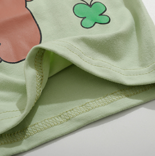 CUTE BEAR PRINT MATCHA GREEN T-SHIRT BY22325