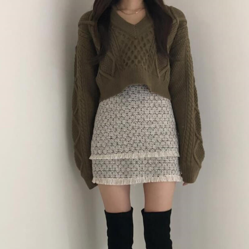2019 NEW KOREAN FASHION SWEATER+SKIRT BY21190