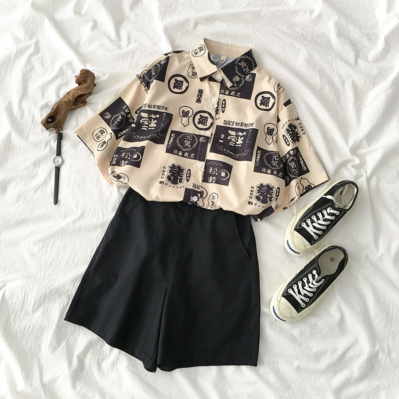 2019 NEW PRINT SHIRT+ELASTIC SHORTS SUIT BY22407