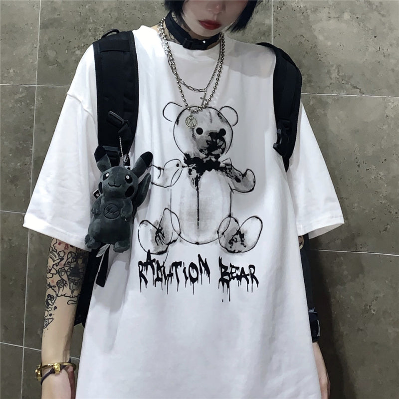 2019 SUMMER HOT RETRO CARTOON BEAR LOOSE T-SHIRT BY22246