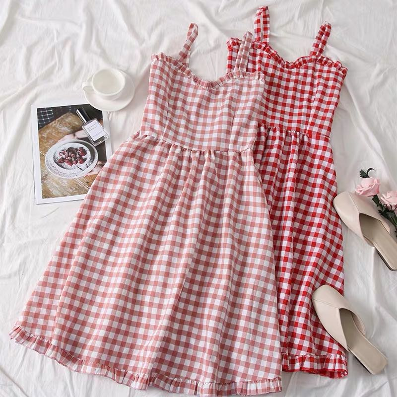 2019 SUMMER SWEET CHECKED HIGH-WAIST DRESS BY71053