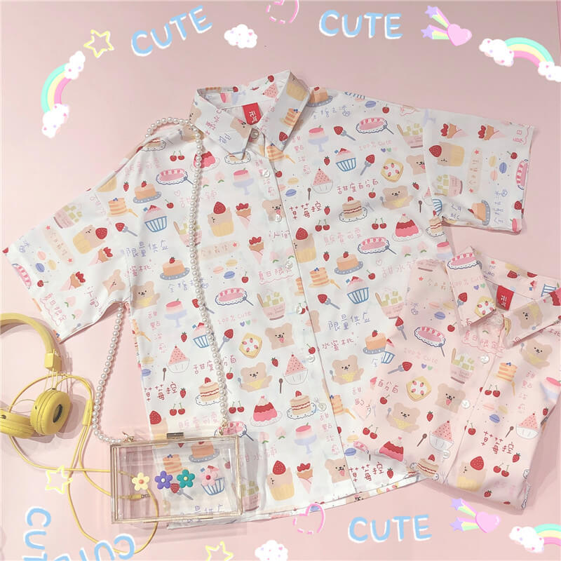 2020 NEW CUTE STRAWBERRY CAKE PRINT SHIRT BY51203