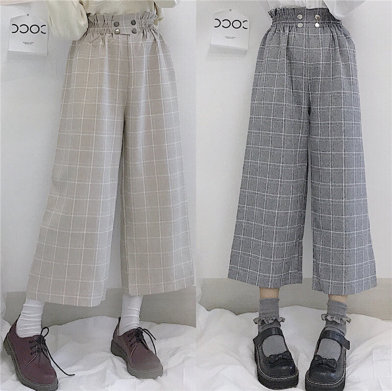 2020 NEW JAPANESE WIDE-LEG PLAID PANTS BY98051