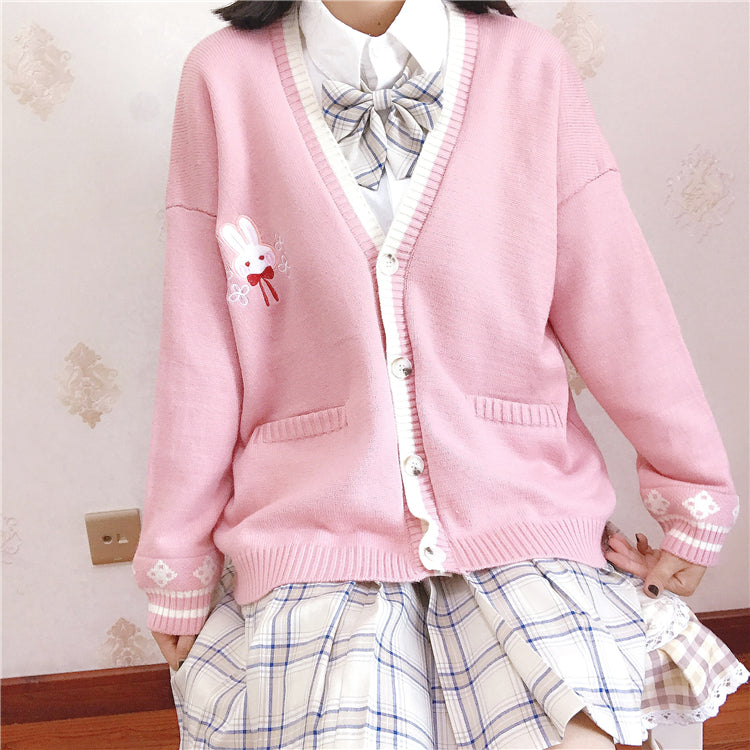 3 COLORS SWEET BUNNY EMBROIDERY SWEATER BY