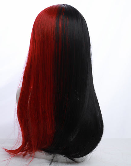 HIME CUT BLACK RED LONG STRAIGHT WIG BY31105