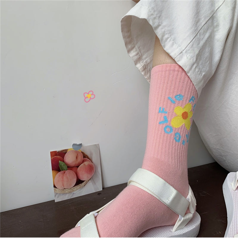 4 PAIRS KOREAN RETRO SWEET FLOWER SOCKS BY64003