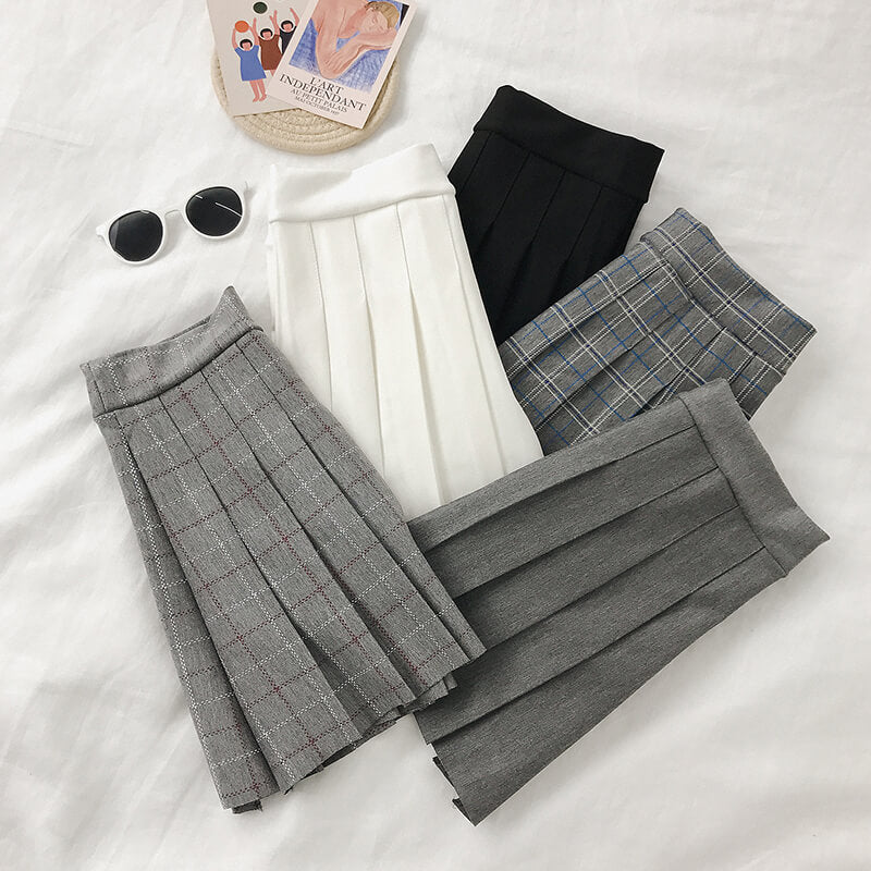 5 COLORS PLAID PLEATED SKIRT BY61144