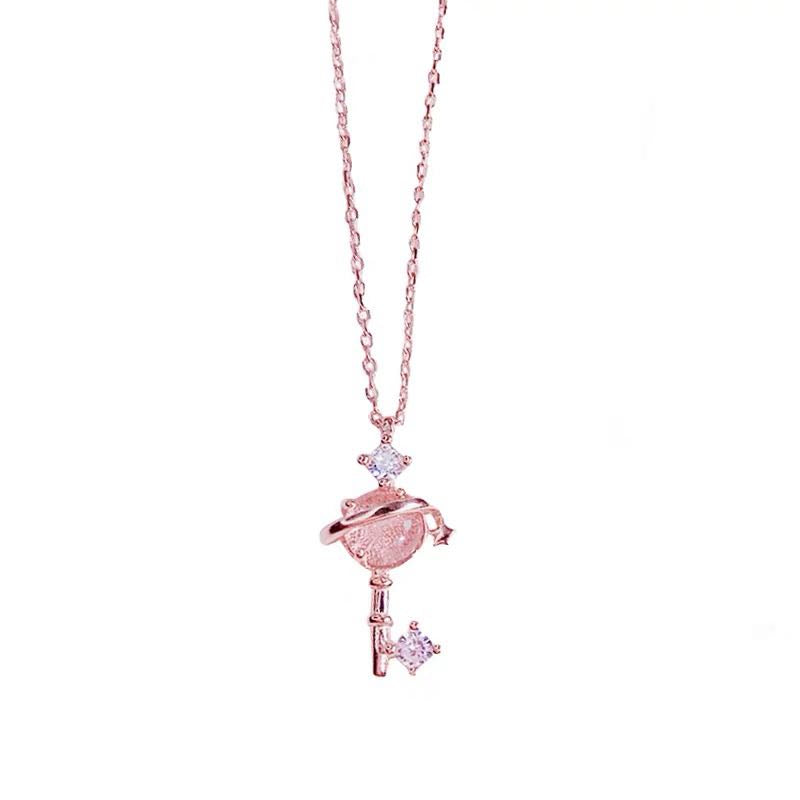 CUTE PINK PLANET NECKLACE