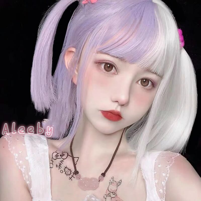 ALEEBY HARAJUKU LOLITA PURPLE WHITE SHORT STRAIGHT WIG BY31170
