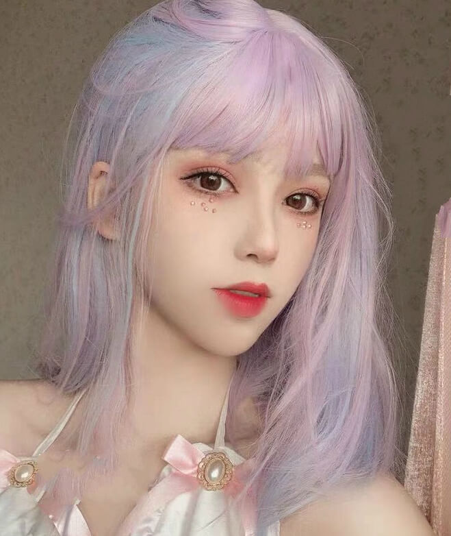 ALEEBY LOLITA PURPLE PINK DAILY SHORT STRAIGHT WIG BY31172