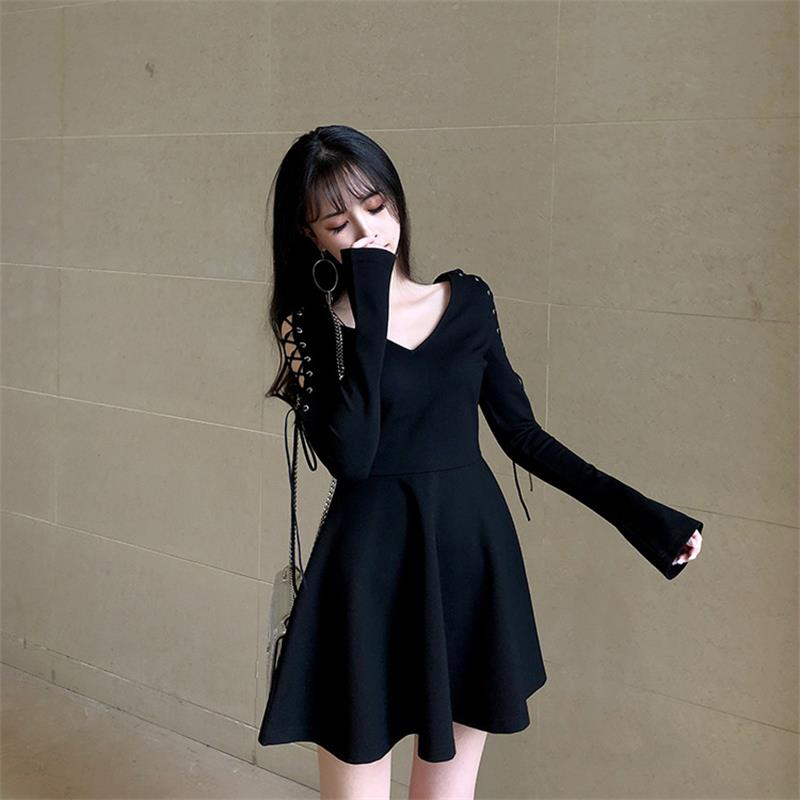 BLACK OFF-SHOULDER BIND DRESS BY71129