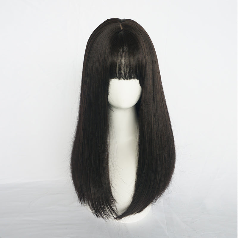 BLACK ROUND FACE LONG STRAIGHT WIG BY31096